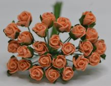 8mm PEACH SEMI-OPEN ROSE BUDS Mulberry Paper Flowers